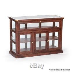 52.25 L Wood And Glass Wood Display Case Vintage Design 4 Door HGJC050