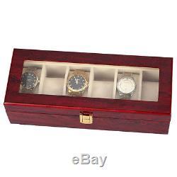 5X 6 Wood Watch Display Case Box Glass Top Jewelry Storage Organizer Gift M WS