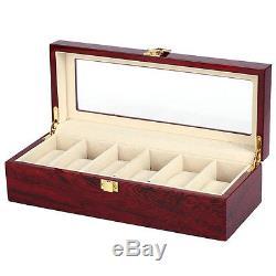 5X 6 Wood Watch Display Case Box Glass Top Jewelry Storage Organizer Gift Me F6