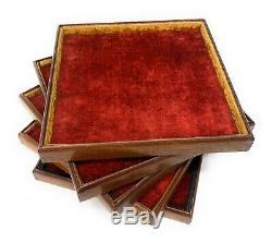 5 Antique Pocket Watch / Chain / Jewelry Wood Velvet Stackable Display Case Tray