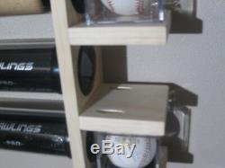 5 Bat Wood Baseball Bat Display Rack with Multi Shelves (SEE DESCRIPTION)