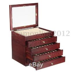 5 Layers Large-capacity Wooden 50 Pens Display Storage Case Wood Box Organizer