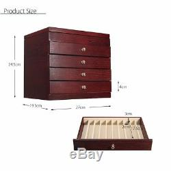 5-Layers Luxury Wooden Box Fountain Pen Office Display Storage Wood Case 50 Pens