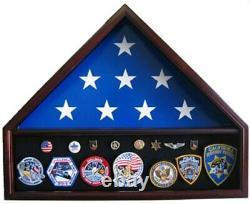 5'X 9.5' Flag Display Case Flag holder box with Pedestal, FC10-MA Solid wood