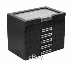 60 Piece Black Ebony Wood Six Level Pen Display Case Black Handle Glass Window