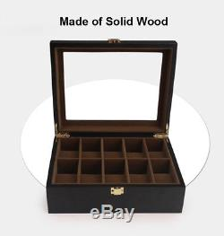 6 10 12 Slots Black Solid Wood Glass Collect Watch Display Storage Box Case Gift