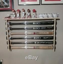 6 Bat Wood Baseball Bat Display Rack with Top Shelf, Bobbleheads