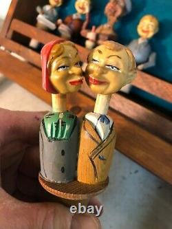 6 Vintage Hand-Carved Wooden Cork Puppet Stoppers Kissing Drummer Etc & Case