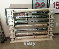 7 Bat Wood Free Standing Baseball Bat Display Rack with shelves