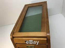 7 Drawer Collectors Cabinet Solid Wood Display Case Knives Coins Watches Medals
