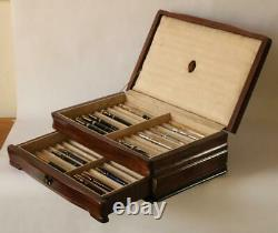 #817 Solid Mahogany Fountain Pen Storage Display Chest Custom Crafted Interior