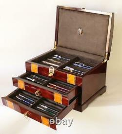 #823 Fountain Pen Storage Display Chest Hand Crafted Custom Built Interior