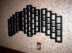 82 Shot Glass Shooter Display Case Rack 3 pc Wall Shelf Organizer Black Wood New