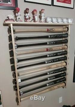 8 Bat Wood Baseball Bat Display Rack with Top Shelf, Bobbleheads