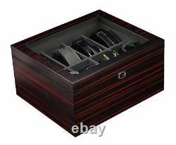 8 Belt Display Case Black Wood Ties Mens Accessories Storage Box Fathers Gift