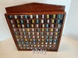 97-Vintage Plastic Advertising Sewing Thimbles In Wood Display Case Singer U2