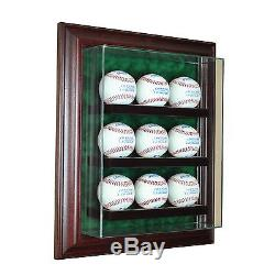 9 Baseball Cabinet Style Wood Display Case Nine Ball Hinged Door Glass CHERRY