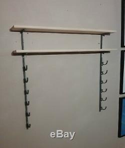 9 Bat Baseball Bat Display Rack with 2 Wood Display Shelf / bobblehead shelf
