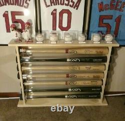 9 Bat Wood Free Standing Baseball Bat Display Rack