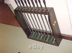 9 Putters Golf Clubs Set Wood Display Rack Case for Wall / Floor in Black Stain