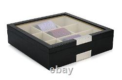 9 Tie Display Case Black Wood Belts Mens Accessories Storage Box Fathers Gift