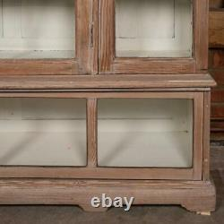 ANTIQUE 20thC FRENCH LIMED WOOD & GLASS-MOUNTED DISPLAY CABINET c. 1900