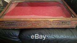 Antique Carved Wood Jewelry Box Glass Hinged LID Retail Display Case Swapmeet