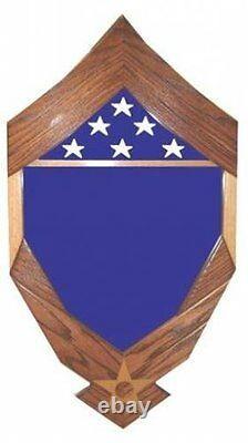 Air Force Logo Flag Military Award Walnut Wood Shadow Box Medal Display Case