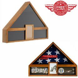 American Flag Display Case Veteran Military Retirement Funeral Burial Medal New