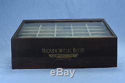 Antique ADVERTISING HICKOK BELT BUCKLES WOOD COUNTERTOP GLASS STORE DISPLAY CASE
