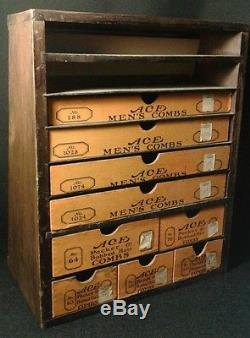 Antique Ace Combs Store Display Wood Advertising Case Drawers Art Deco VTG Rare