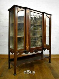 Antique Art Nouveau inlaid glazed cabinet display case
