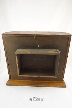 Antique BR Bands Wrist Watch Oak Wood & Glass Store Counter Display Case Cabinet