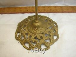 Antique Cast Iron Victorian Ornate Hat Stand Wig Store Display Wood Top
