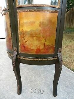 Antique FRENCH VITRINE CURIO CABINET Hand Painted DISPLAY CASE Vernis Martin