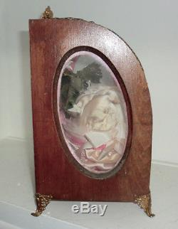 Antique French Bridal Wedding Display Case Glass Wood Pink Filigree Metal Trim