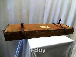 Antique Gun Case Wooden Leather Cloth Mounted Victorian Gun Display Cabinet Old