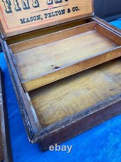 Antique Lace Wood Country Store Display Case Dovetail Box Fine Laces Advertising