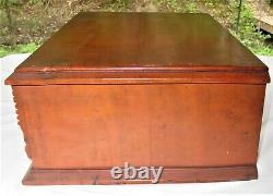 Antique Original Country Store Wood Counter Top Spool Cabinet 2 Drawer