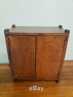 Antique Paris Garters Lighted Wood Glass General Store Display Case Haberdashery
