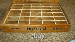 Antique Sheaffer Pen Pencil Leads Erasers Wood Sore Counter Display Case RARE