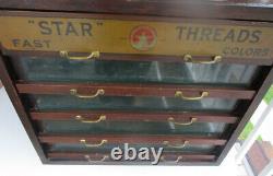 Antique Star Threads RARE 5 DRAWER Wood Thread Cabinet Display
