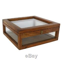 Antique Style Solid Wood Tabletop Display Case Square Glass Hinge Top Classic