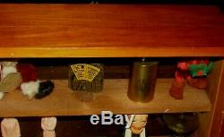Antique Table Top Wood Display Case Slant Glass Front 3 Shelves York Cutlery