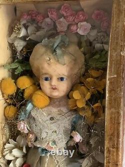 Antique Victorian wax over pumpkin head doll in display case haunted mourning