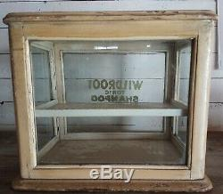 Antique WILDROOT TONIC SHAMPOO Wood & Glass Barber Shop, Store Display Cabinet