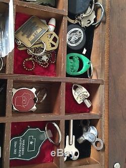 Antique Wood Glass Curio Full Of Keys Display Case Cabinet Lots Of Compartments