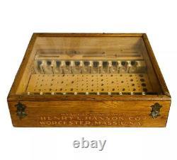 Antique Wood Henry L. Hanson Tool Bit Advertising Display Case
