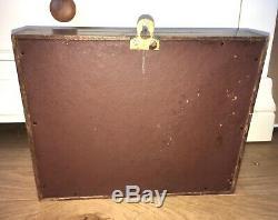 Antique Wooden & Glass Display Storage Case Mounted Edwardian Victorian Keys