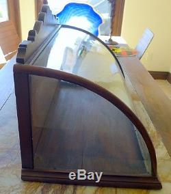 Antique curved glass display case, large ORIGINAL